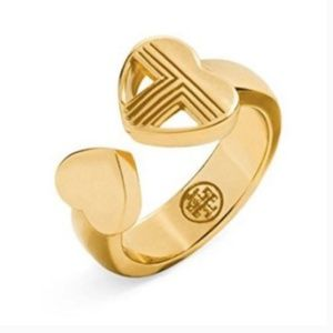 Tory Burch Adeline Fret Gold Ring Heart Size 8